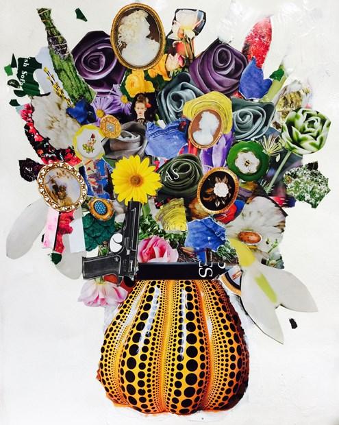 Flowers in Yayoi Kusama Vase with Star 30M