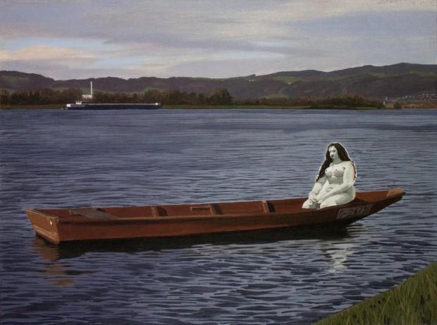 Oskar Kokoshka's 'Alma Mahler' doll relaxing on the Danube near Linz, AD1951