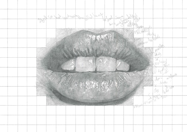 Mouth, squares, writing