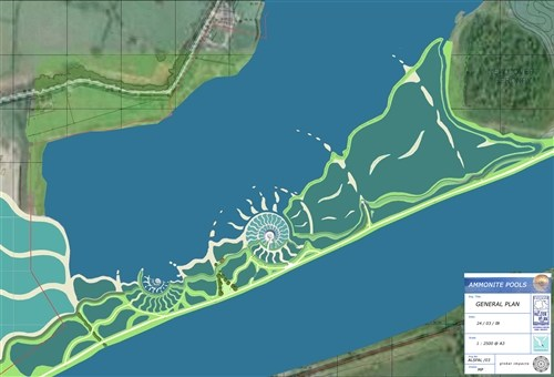 Ammonite Pools, Cotswold Water Park - Credit: Drawing - Mick Petts