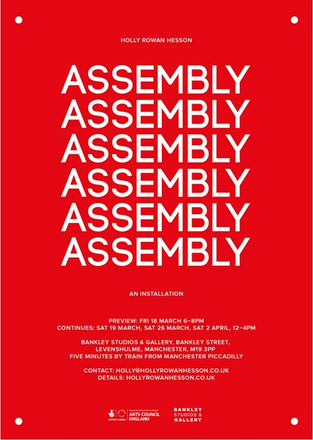 Assembly - solo show by Holly Rowan Hesson at Bankley Gallery, Manchester - open Sat 26 Mar & 2 Apr