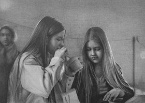 Girls Eating (video still) 1, by Susannah Douglas
