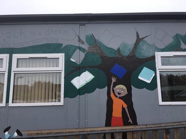 WORK IN PROGRESS - The Book Tree  - mural for the library - Credit: liz Sergeant