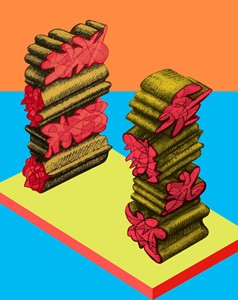 Sliced and Stacked Squiggles, by Jim Brown