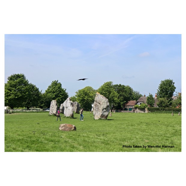 Interviewing people at the Avebury Stone Circle, Wiltshire, England, 18th of May 2018