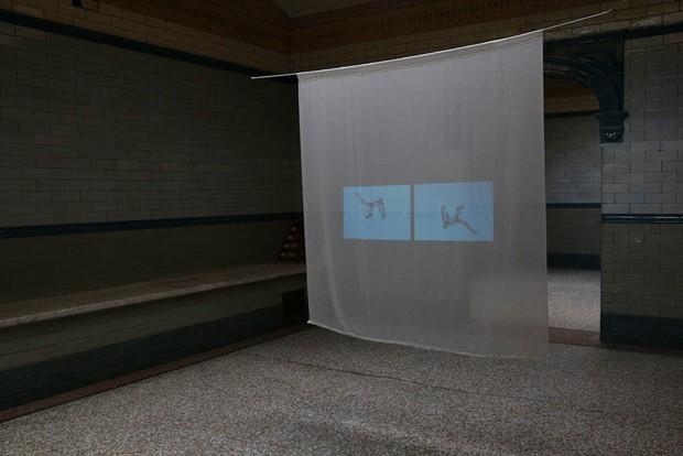 """Mediterranea"" Split screen projection, Victoria Baths, Manchester."