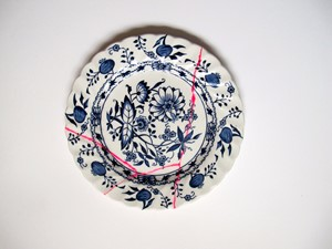 Blue Pink Plate, by Bridget Harvey