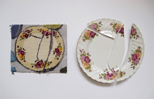 Tapestry Plate: Fixed, not fixed, by Bridget Harvey