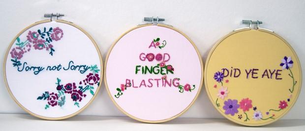 embroidered hoop art