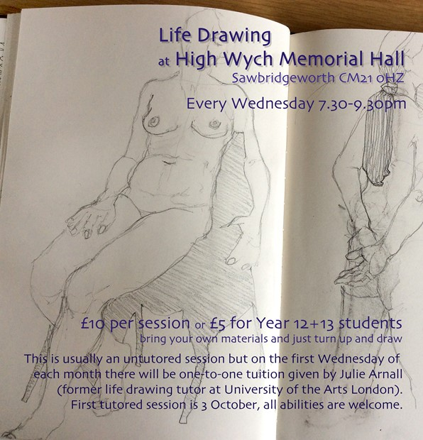 Life Drawing Wednesdays 7.30-9.30pm
