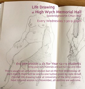 Life Drawing Wednesdays 7.30-9.30pm, by Julie Arnall