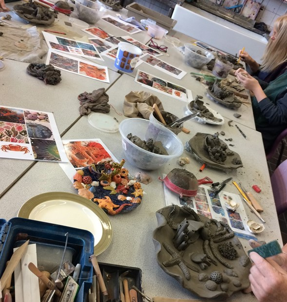 Ceramics Family Learning Short Course 2019 - Credit: At work in the art room