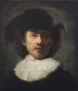 Radial Portrait (after Rembrandt van Rijn self portrait with a wide brimmed hat), by Will Teather