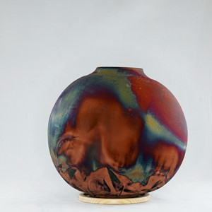 Full Copper Matte Large Globe Vase, by Adil Ghani